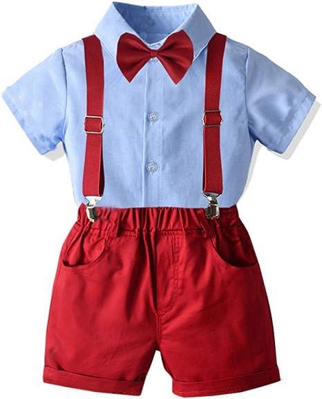 AEPEDC Ropa para Niños Camisa Azul Cielo Pajarita + Pantalones Cortos Rojos con Cinturón Rojo Ropa Pantalones Cortos Ropa Sólida para Niños Trajes Ropa para Niños Pequeños: Amazon.es: Deportes y aire libre