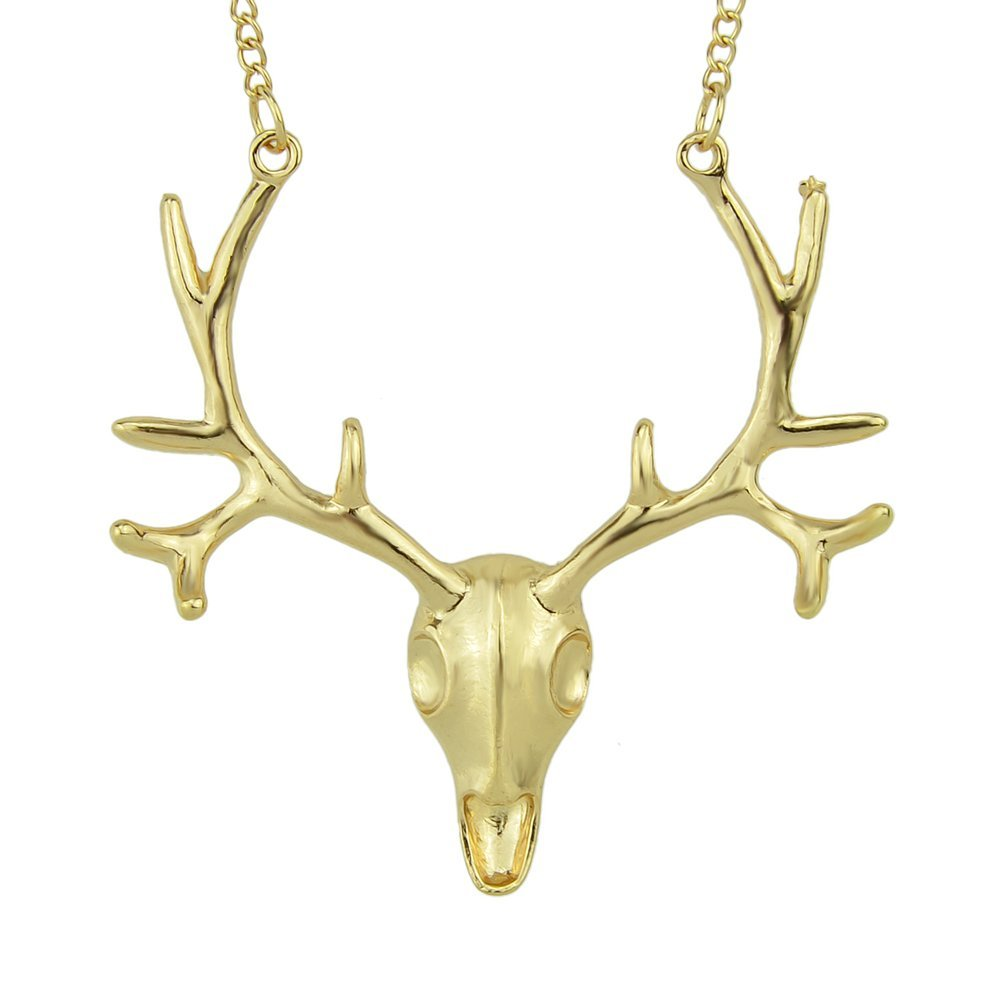 Feelontop® Hot Sale Alloy Gold Plated Stag Head Pendant Necklace for Women with Jewelry Pouch NC-2190-GOLD