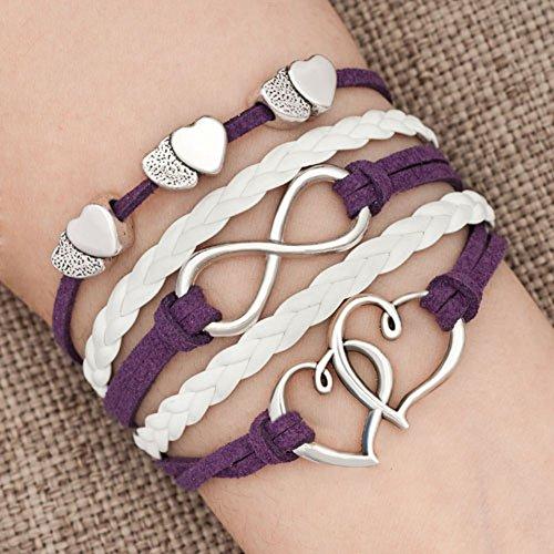 LovelyJewelry Leather Wrap Bracelets Girls Double Hearts Infinity Rope Wristband Bracelets Gifts (Purple 2)