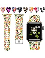 Laffav Floral Band Compatible with Apple Watch 40mm 38mm 44mm 42mm for Women Men, Soft Sport Pattern Waterproof Strap Compatible with iWatch Series 4 3 2 1, S/M M/L