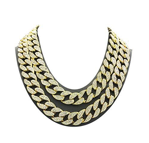 Shiny Jewelers USA Mens Iced Out Hip Hop Gold tone CZ Miami Cuban Link Chain Choker Necklace (16