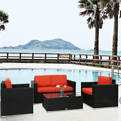 Peach Tree Outdoor Furniture Sectional Wicker Sofa Set 4 PCs Patio Resin Rattan Clearance, All-Weather Washable Waterproof Orange Cushions, w/Glass Coffee Table, Backyard, ()