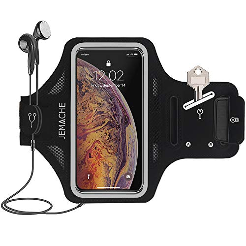 iPhone Xs Max Armband, JEMACHE Thin Water Resistant Gym Running Workouts Arm Band Case for iPhone Xs Max 6.5, iPhone XR 6.1 with Key Holder (Black)