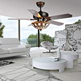 Andersonlight 52-Inch Black Ceiling Fan With Tiffany Light