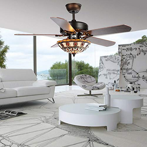 Compare Price Stained Glass Ceiling Fan On