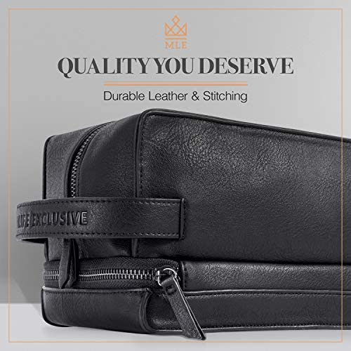 Black Leather Toiletry Bag for Men - Leather Dopp Kit for Men & Shaving Kit Bag - Mens Travel Toiletry Bag - Hygiene & Grooming Kit Organizer - Cruelty-Free Leather and Hand Stictched