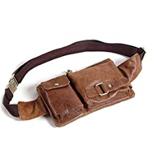 Teemzone® Unisex Outdoors Sports Crazy Horse Leather Fanny Pack Backpack Phone Holder Fanny Sling Bag (Brow)
