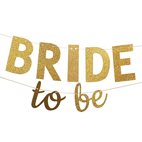 Hanging Banner Sign (Bride To Be Gold Glitter Banner Wedding Bunting Garland - Sign Photo Prop, Party Decoration, Bridal Shower Decor, Bachelorette Party Banners)