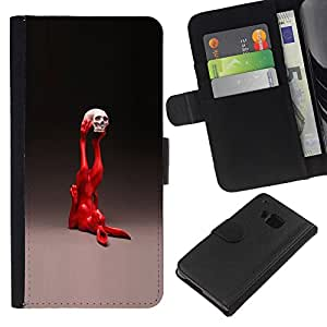 JackGot ( Pop Art Conejo ) HTC One M9 la tarjeta de Crédito Slots PU Funda de cuero Monedero caso cubierta de piel
