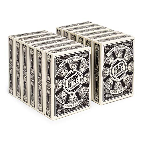 12 Decks Beers & Bluffs Craft Beer Themed Playing Cards | Cream Playing Cards with Custom Hop and Beer Bottle Card Art | Plastic-Coated 310gsm Black Core, Standard Index, Poker Size