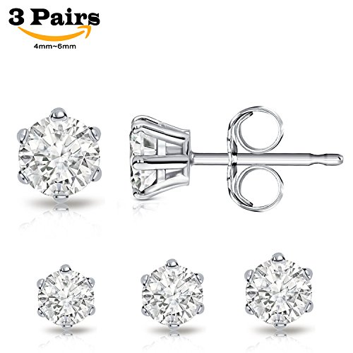 Rhinestone Crystal Round Stud (Billie Bijoux Sterling Silver Earrings Studs with Round Cut Cubic Zirconia Diamond Rhinestone, Womens Fine Jewelry (3 Pairs (4mm, 5mm, 6mm)))