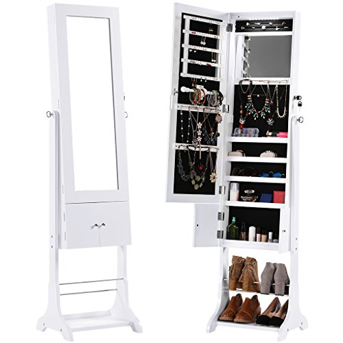 LANGRIA Free Standing Lockable Jewelry Cabinet ...