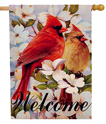Dyrenson Love Cardinal House Flag Red Bird Flower Double Sided Welcome, House Floral Dogwood Lily Burlap Yard Decoration, Home Decorative Seasonal Outdoor Décor Large Flag 28 x 40 Spring Summer