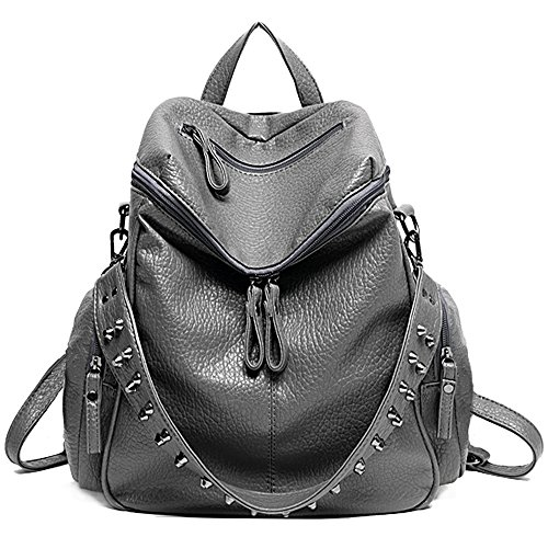UTO Women Backpack Purse 3 ways PU Washed Leather Rivet Studded Ladies Rucksack Shoulder Bag