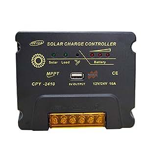 marsrock 12/24V Auto Trabajo MPPT Solar controlador de carga, Multi Función, circuito de compensación, con USB 5V salida para batería de plomo ácido