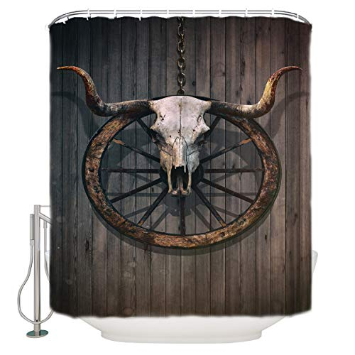 Krisyeol Modern Home Bathroom Decoration Shower Curtain Yak Wheels Pattern Traditional Ceremony Durable Waterproof Fabric Eco Friendly Polyester Bath Curtains with Hooks 54