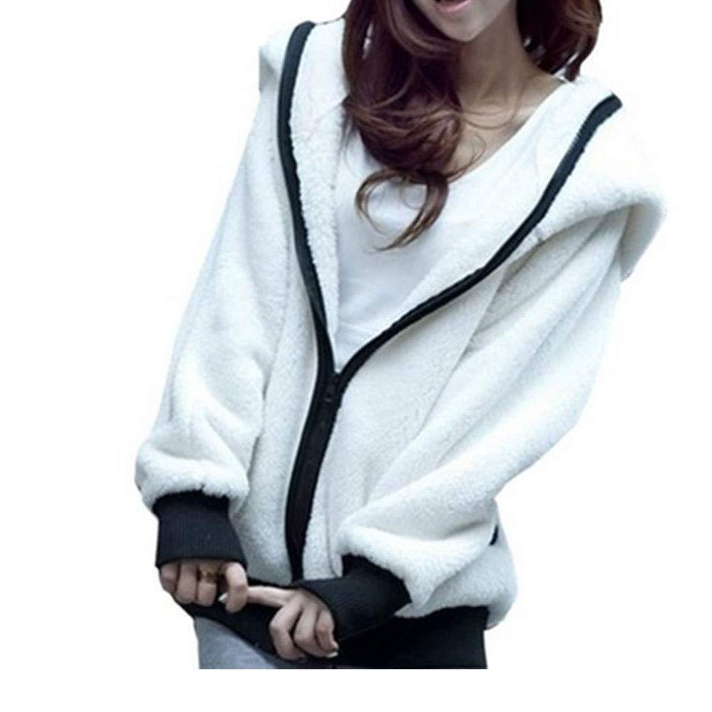 King Ma Womens Hoodie Panda Ear Tail Zip up Loose Outerwear