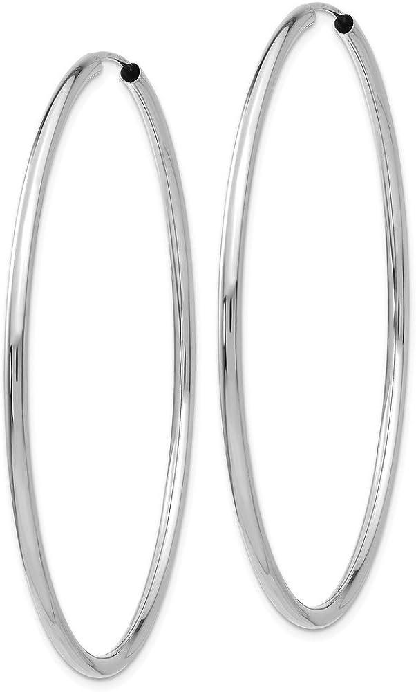 14k Gold WG 2mm Polished Endless Hoop Earrings 2.01 in x 0.08 in