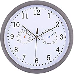 TRSMXYW Wall Clocks for Living Room Radio Controlled Silent Radio Controlled with Temperatureand Humidity 30 cm Suitable for Family Room Office Restaurants Etc Best Gift