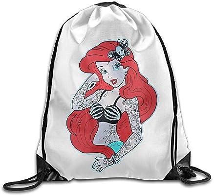 Unisex bolsa de cordón trenzado Ariel sirenita tatuaje bolsa de ...