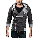 DJT Men's Oblique Zipper Hoodie Casual Top Coat Slim Fit Jacket Grey M