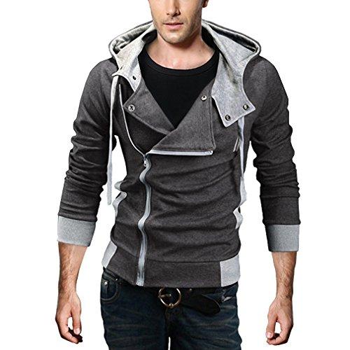 DJT Men's Oblique Zipper Hoodie Casual Top Coat Slim Fit Jacket Grey M