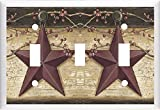 COUNTRY BARN STAR & BERRIES HOME DECOR LIGHT SWITCH COVER PLATE OR OUTLET (3X TOGGLE (TRIPLE))