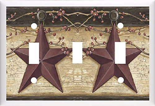 COUNTRY BARN STAR & BERRIES HOME DECOR LIGHT SWITCH COVER PLATE OR OUTLET (3X TOGGLE (Triple 2 Switch)