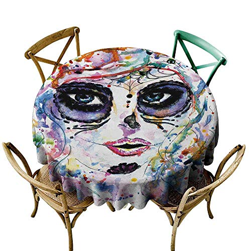 SKDSArts Rectangle tablecloths Sugar Skull,Halloween Girl with Sugar Skull Makeup Watercolor Painting Style Creepy Look,Multicolor D70,Round Tablecloth]()