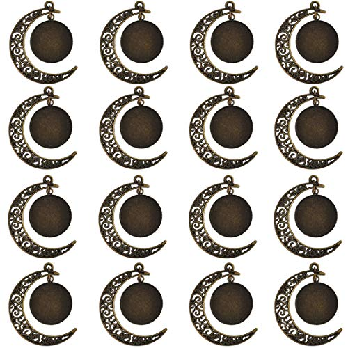 Lanbeide 20pcs Alloy Antique Brass Moon Necklace Rotating Pendant Cameo Cabochon Base Tray Bezel Blank Base Settings, ()
