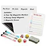 Bieco 16'' x 12'' Colorful Dry Erase Board Weekly Monthly Calendar Set, Magnetic Whiteboard & Grocery List Organizer for Kitchen Refrigerator, Best for Smart Planners with Free Small to Do List