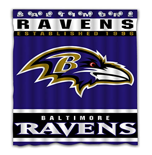 Potteroy Baltimore Ravens Team Design Shower Curtain Waterproof Polyester Fabric 66x72 Inches Baltimore Ravens Shower Curtain
