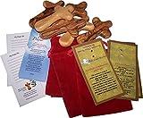 Holy Land Market Olive Wood Holding Hand Crosses Gift Bags (Red Black Velvet Bag) from Bethlehem (6, 4 inches)