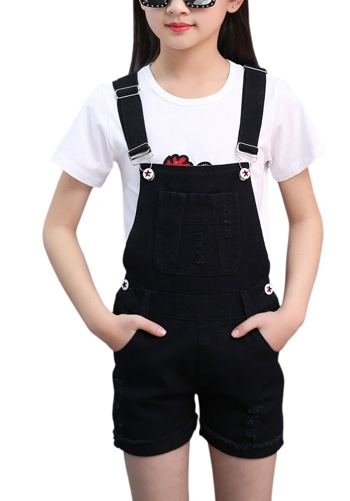 Kids Ripped Holes Denim Jeans Shorts Bib Romper Overalls Jumpsuit Shortalls for Little & Big Girls, Black, 10-11 Years = Tag 160