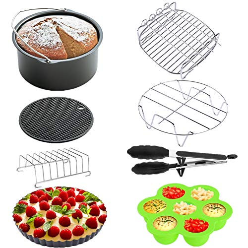XL Air Fryer Accessories 8 Inch for Gowise Phillips Power Nuwave Farberware and Cozyna Air Fryer, Set of 8, Fit all 5.3QT - 5.8QT and UP, by KINDEN
