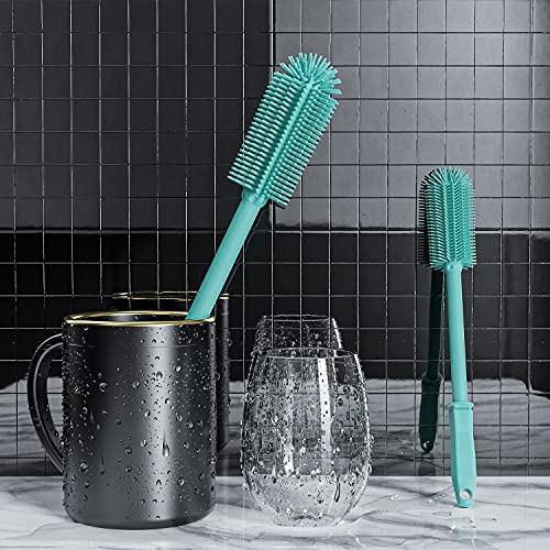 """COOKLEE 2 Pack Silicone Bottle Cleaning Brush with 16""""Long Water Bottle Brush Cleaner Brush for Hydro Flask,Glassware,Vacuum Sports Bottle&Vases,Water Bottle Cleaner Brush for Narrow Neck Containers"""
