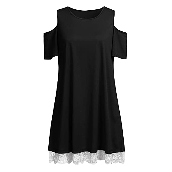 Amazon.com: Women Summer Beach Dress Off Shoulder Short Sleeves Solid Lace Short Dress Round Neck A-Line Casual With Pocket Toponly: Appliances