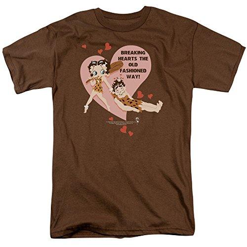 Betty Boop Men's Breaking Hearts Classic T-shirt Medium Coffee