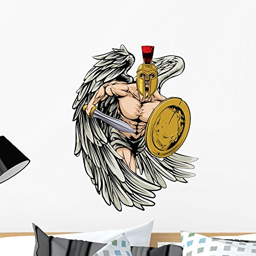 Team Mascot Button - Wallmonkeys Strong Angel Wall Decal Peel and Stick Graphic WM21541 (24 in H x 18 in W)