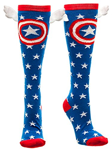 Captain America Shield and Stars Knee High Socks with Wings multicolor one size Sock Size: 9-11 / Shoe Size 5-10 ()