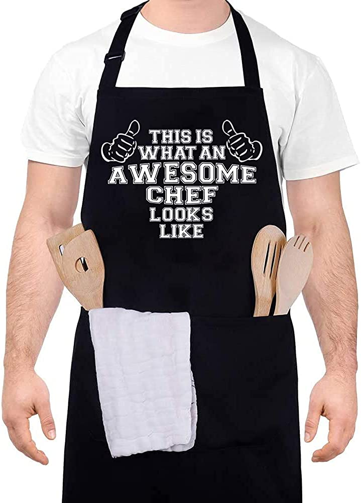 IDEAPRON Funny Apron for Men Women - This Is What An Awesome Chef Looks Like - Grilling Aprons with 2 Pockets, Adjustable Kitchen Cooking Apron for Dad Husband Grandpa Mom Wife - Grilling Gift for Men