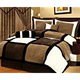 Chezmoi Collection 7-Piece Micro Suede Patchwork Duvet Cover Set, Queen, Solid Black/Brown/White