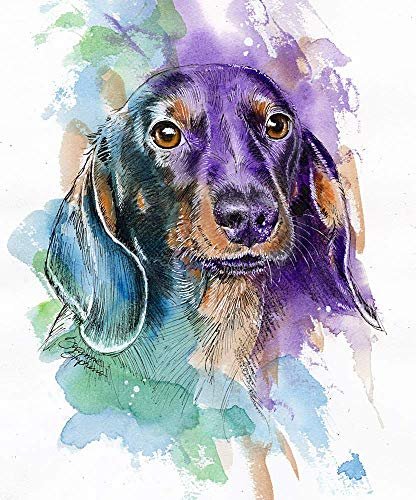 Dachshund Watercolor Art Print of Original Painting, Pet Themed Party Nursery Home Wall Decor, Gift for Dog Mom, Dad, Parent; Rainbow Bridge Pet Loss Sympathy Bereavement Housewarming Memorial Gift