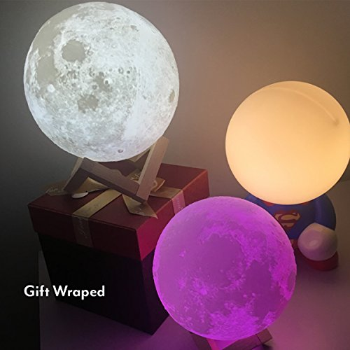 IDEAcone 7 Color Large Moon Luna Light Lamp, Tap Control/Switch Rechargable Modern Home 3D Printing Lamp, Moon Night Light with Wooden Mount …