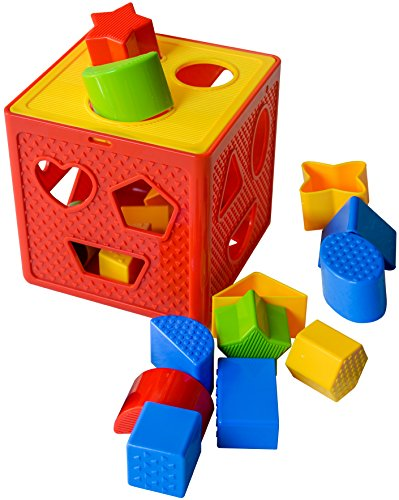 Baby Blocks Shape Sorter Toy - Childrens Blocks Includes 18 Shapes - Color Recognition Shape Toys With Colorful Sorter Cube Box - My First Baby Toys - Toys Gift For Boys & Girls - Original - By Play22