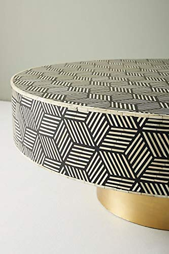Striped Diamond Geometric Black Bone Inlay Coffee ()