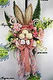 Easter Bunny Door Hanger, Rabbit Door Hanger, Easter Wreath, Bunny Wreath, Door Hanger, Pink and Green Bunny Wreath, Whimsical Easter Wreath
