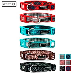 Citizen K9 Dog Collar – Red Houndstooth Large Neoprene - Designer Neck Collars for Large Dogs – Soft and Comfy - Quiet ID Tag Loop – Reflective Logo Fashion Training Male or Female - Formerly Buju