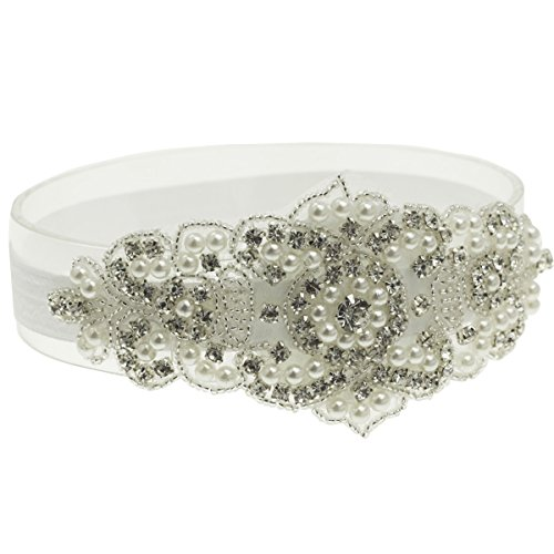 Baptism Headband for Toddler Baby Girl White Rhinestone Headband Accessories (White, 6 Months - 2 Years old)