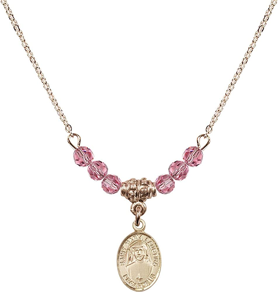 18-Inch Hamilton Gold Plated Necklace with 4mm Rose Birthstone Beads and Gold Filled Saint Maria Faustina Charm.